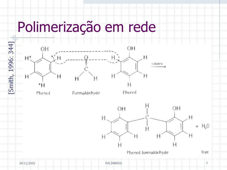 Polimerização em rede [Smith, 1996: 344] 24/11/2002 POLÏMEROS